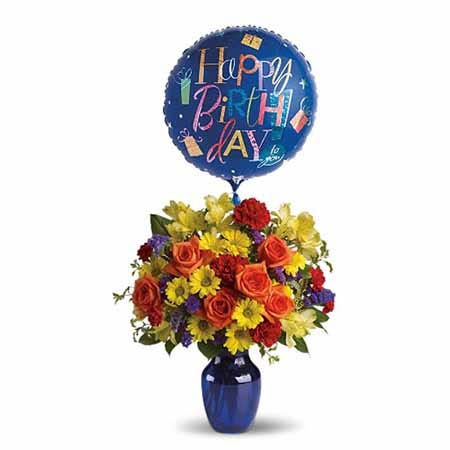 Happy birthday flower and balloon bouquet with orange roses and mylar birthday balloon