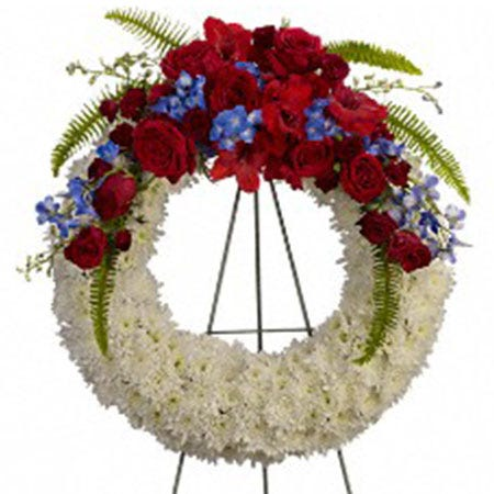 funeral open wreath standing spray with white chrysanthemums, red roses, and red gladioli