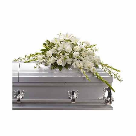 Cheap sympathy flowers and white flower casket spray of cheap flowers