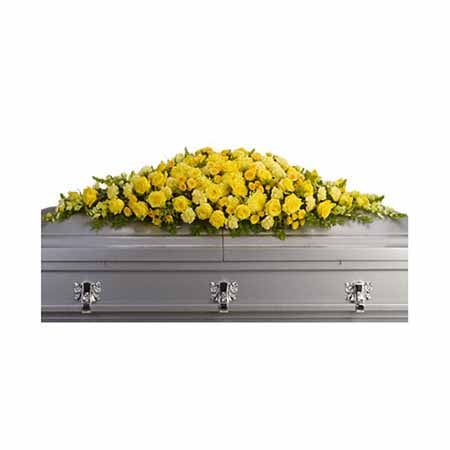Yellow flower casket spray with yellow spray roses and cheap flowers