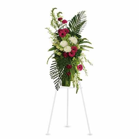 Tropical modern white chrysanthemum and red gerbera daisy funeral standing spray