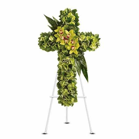 green cymbidium orchid cross shaped funeral flowers standing spray