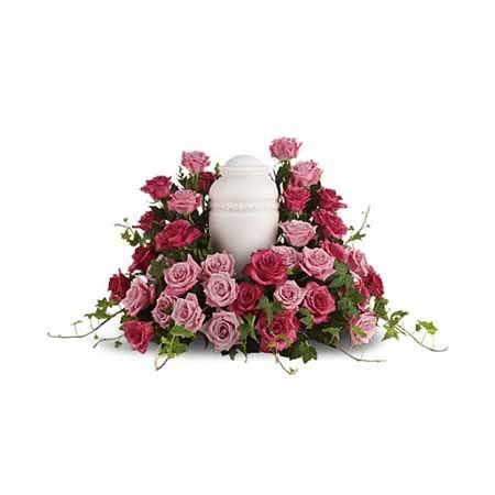 An urn pink rose bouquet