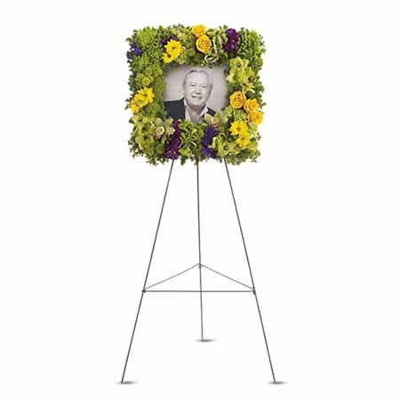 Funeral flowers with picture frame using cheap flowers, same day funeral flowers