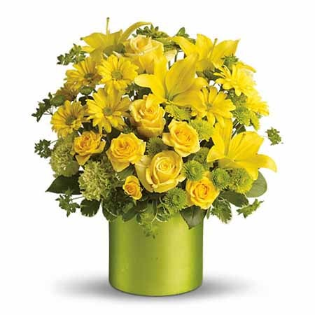 Yellow roses in green vase with green flowers from SendFlowers