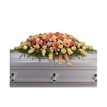 Flowers for casket in this casket spray flower arrangement with cheap flowers