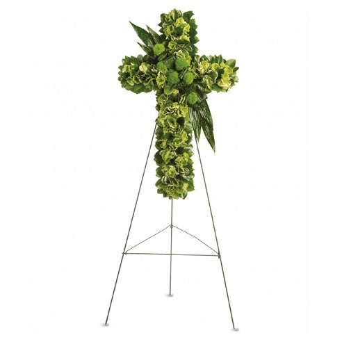 Flowers arrangement for funeral green flower cross spray