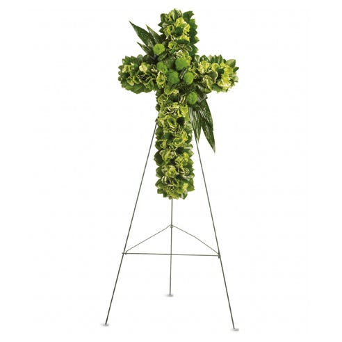 Green hydrangea and dianthus funeral flowers cross standing spray arrangement