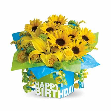 Happy Birthday sunflower and yellow lily bouquet with happy birthday box and ribbons