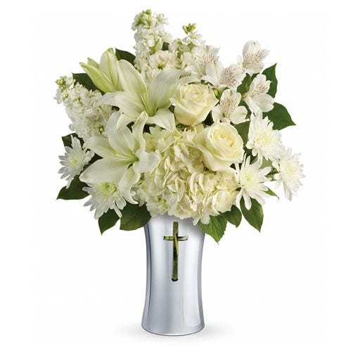 white flower cross bouquet and sympathy flowers bouquet from send flowers