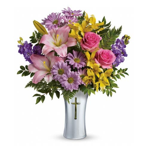 cross flower bouquet delivery from send flowers, sympathy flowers for loss
