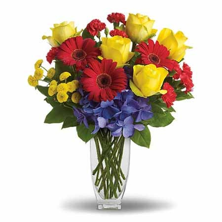 SendFlowers' yellow roses and red daisies as cheap flowers online