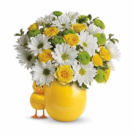 Childs flower bouquet with yellow roses and white daisies