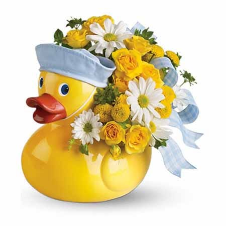 Its a boy newborn little baby boy duck flowers bouquet with ducky flower vase