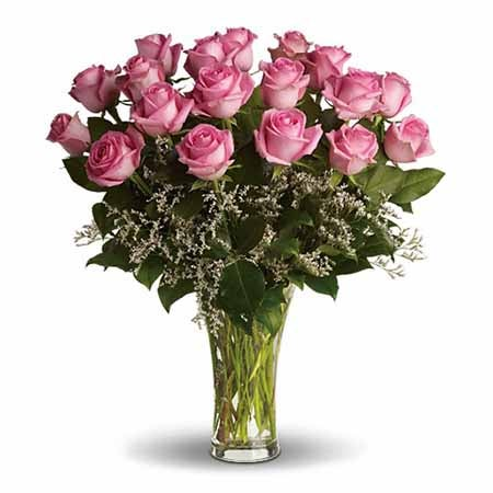 24 long stem pink roses and 24 pink roses delivery from Send Flowers