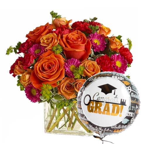 graduation flower bouquet and happy graduation balloon delivery at send flowers