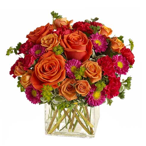 Orange rose bouquet modern flowers for sunday delivery
