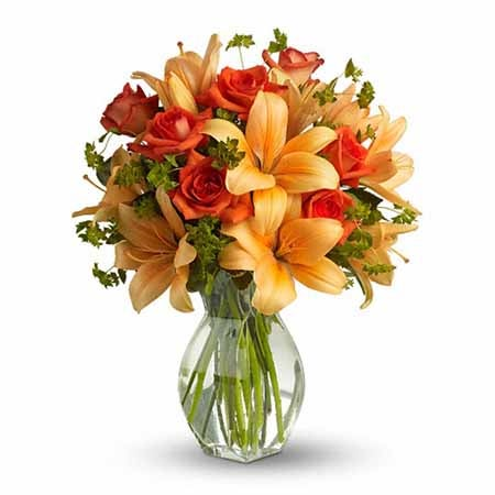 Orange lilies and orange rose bouquet for same day flower delivery