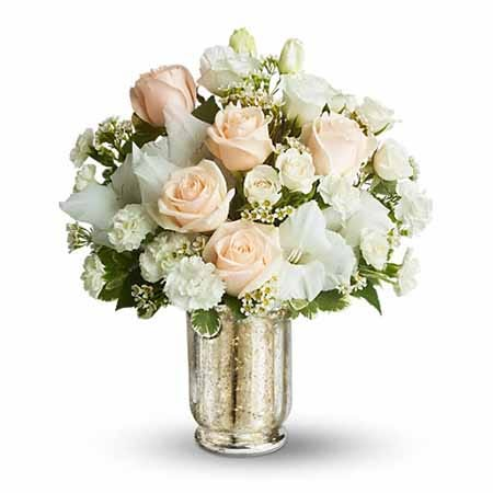 White wedding bouquet of affordable flowers and cheap flowers to send