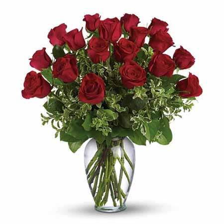 Long stem dark red roses bouquet with pitta negra and spring garden vase