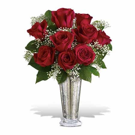 Long stem red roses million star gypsophila bouquet in silver sparkle vase