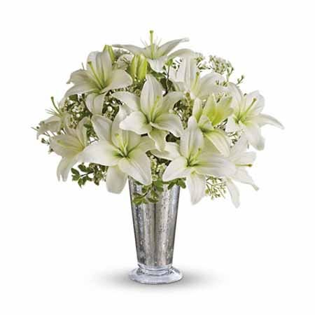 White lily bouquet with white lilies and cheap flowers from sendflowers