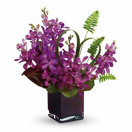 Mokara orchids delivery, beautiful purple mokara orchid bouquet, purple orchids