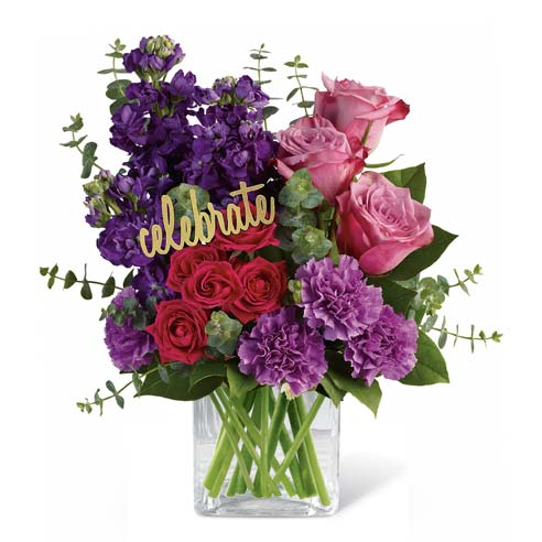 Purple flowers bouquet with red roses, pink roses, purple carnations and purple stock