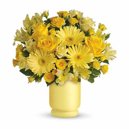 Cheap flowers delivery at SendFlowers, in this yellow roses & cheap flowers bouquet