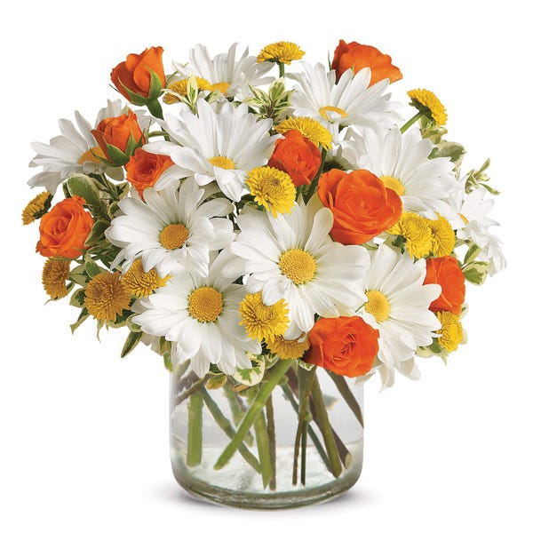 Orange flower vase with orange flower bouquet at Send Flowers