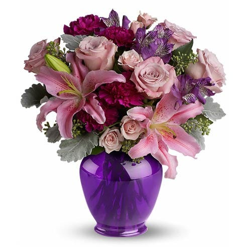 Purple flower bouquet with pale pink roses, asiatic lilies and purple flowers