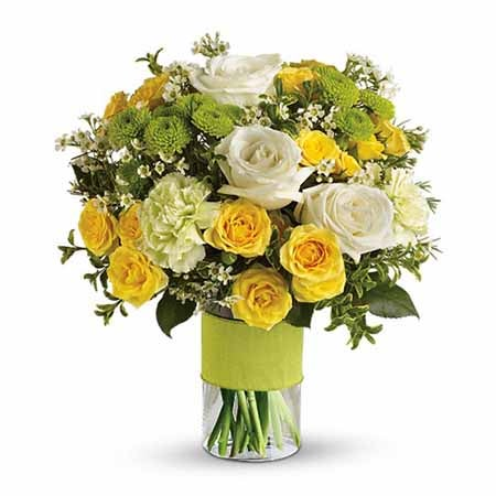 yellow and green flower bouquet with pale green carnations and mini yellow roses