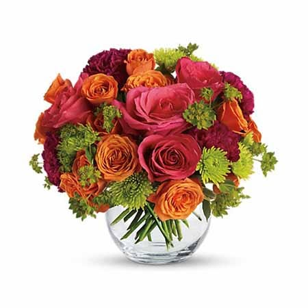 Autumn fall hot pink and coral roses bouquet with orange roses and green mums