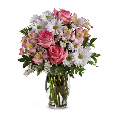 Send flowers cheap bouquet of pink roses, white traditional daisies & pink alstroemeria