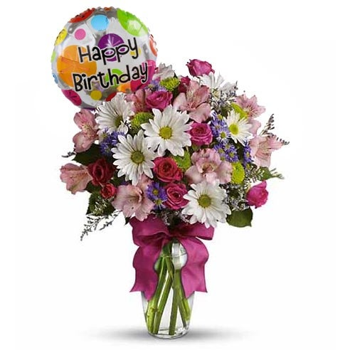 birthday balloons pink spray daises flowers pink flower bouquet roses