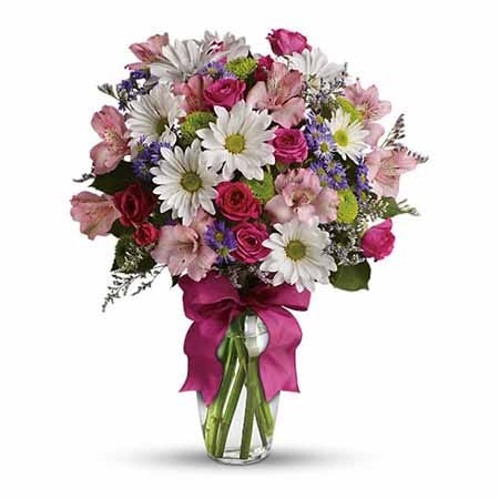 Spring white daisy flower bouquet with pink spray roses and purple monte casino aster