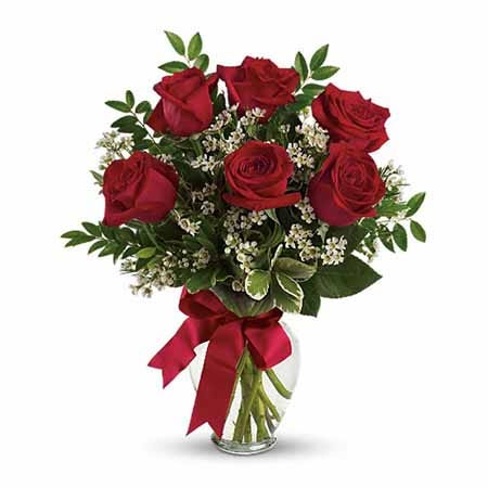 6 dark red roses with babies breath delivered inside a glass flower vase