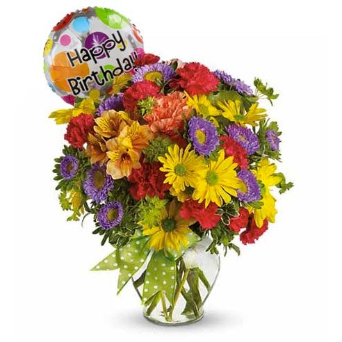 Happy Birthday mixed flower bouquet and mylar happy birthday balloon