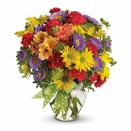 Mixed summer bouquet with yellow daisies orange carnations and purple asters