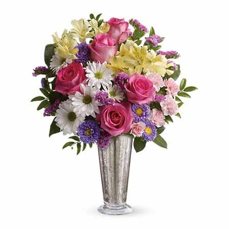 Same day flower delivery on pink roses online from Send Flowers