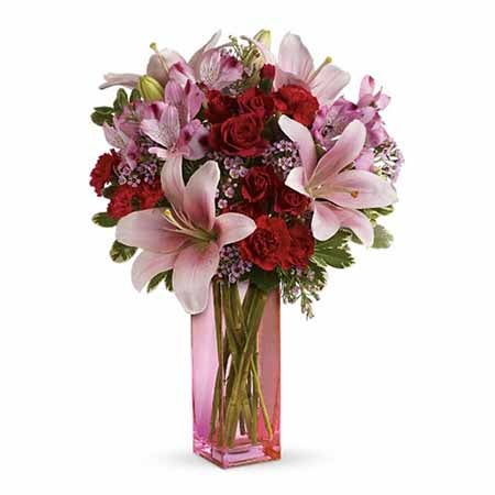 pink lily bouquet delivery with red carnations, pink alstroemeria in pink vase