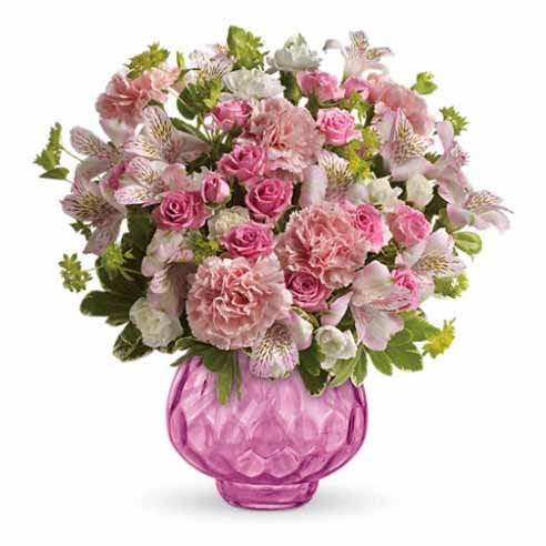 All pink mixed flower bouquet with pink carnations, pink alstroemeria & mini roses