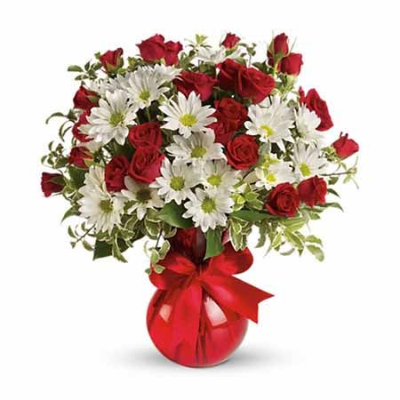 Order red spray roses, white daisy mums, and red vase