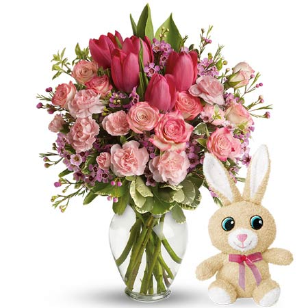 Hot pink tulip and pastel rose Easter flower bouquet with stuffed animal bunny