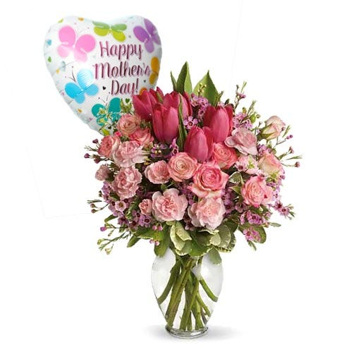Pink tulip mothers day flower delivery and mothers day balloon delivery