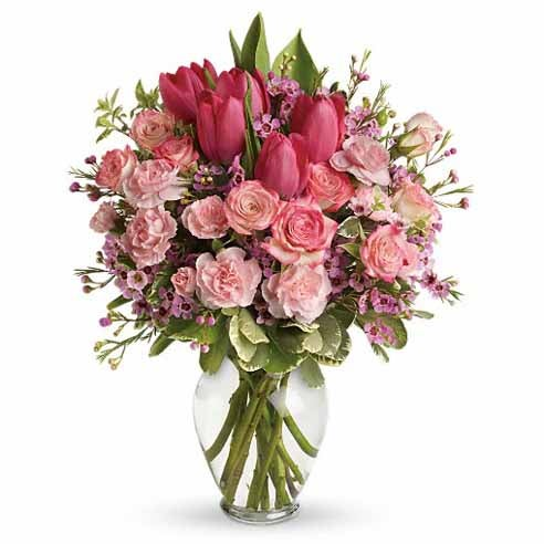 pink tulips and pink roses centerpiece, a cheap tulip delivery at send flowers