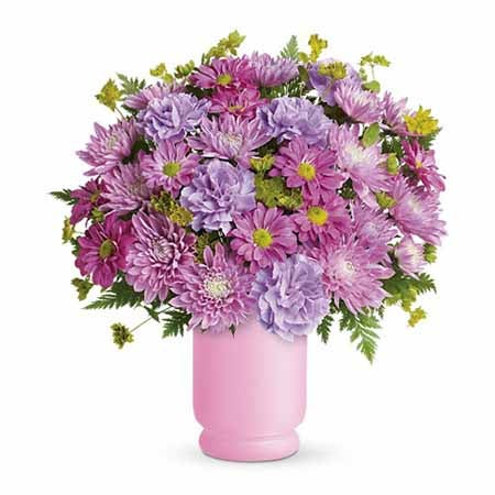 Cute Mothers Day gift purple flower bouquet with lavender flowers
