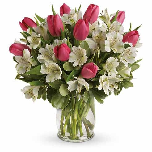 Tulips meaning and pink tulip and white alstroemeria flower bouquet