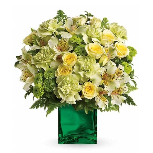 Pale green flower bouquet with cheap flowers, light green carnations and light yellow roses delivery