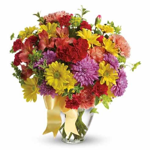 cheap colorful mixed flower bouquet delivery with yellow daisies and red carnations